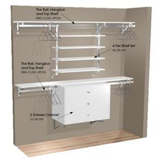 Double Hang Wall Closet with Shelves and Cabinet  Almost a perfect idea for a small closet - but you need a single hang for dresses/suits etc.