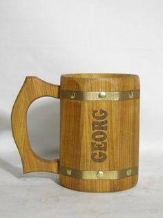 Personalizzato boccale di birra in legno 0.5L17oz legno