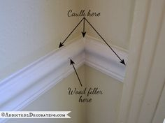 tips for installing beautiful moulding - use caulk in corners and where the trim meets wall