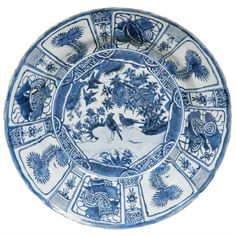 Large Chinese Blue and White Kraak Charger, Wanli | From a unique collection of antique and modern ceramics at https://www.1stdibs.com/furniture/asian-art-furniture/ceramics/