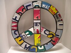License Plate Peace Sign by OldRedBarn on Etsy, $35.00