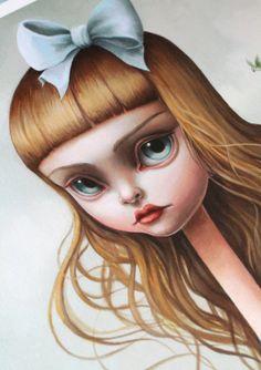 Alice, Serpent ! -Limited Edition Alice au pays des merveilles signé numéroté 11,5 x 23 pop surréalisme Fine Art Print par Mab Graves