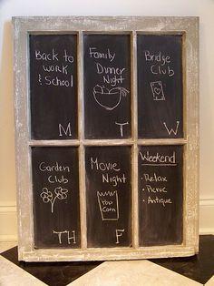 chalkboard from an old window frame Window Frame Art, Old Window Screens, Old Screen Doors, Window Panes, Old Window Crafts, Chalkboard Window, Craft Corner, Do It Yourself Projects, Xmas Ideas