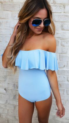 #summer #outfits  Blue Off The Shoulder Ruffle One Piece Swimsuit