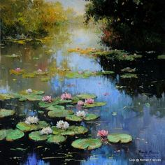 Water Lilies Painting, Lily Painting, Oil Painting Flowers, Abstract Flowers, Abstract Art, Landscape Art, Landscape Paintings, Flower Canvas Art, Mural Art