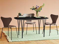 Small Furniture, Furniture Styles, Contemporary Furniture, Eames, Fritz Hansen Chair, Arne Jacobsen Chair, Dining Chairs, Dining Table, Luxury Furniture Brands