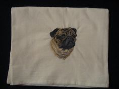 Pug Flour Sack Dish Towel by CraftsbyJeanJanisch on Etsy, $6.50