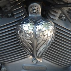 Aged Aluminum Angel Wing Heart. HRT-AW [HRT-AW] - $145.00 : Chrome Dome Motorcycle Products, Trick out your scooter!