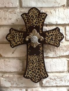 Large Leopard Cross Wall Cross Rhinestone Cross by RoseandCoDecor
