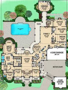 House Plan – European Plan: Square Feet, 7 Bedrooms, 9 Bathrooms beautiful mansion with everything you could possibly need, minus a beautiful library or music room House Plans Mansion, Sims House Plans, House Layout Plans, New House Plans, Dream House Plans, House Layouts, House Floor Plans, Dream House Exterior, Dream Houses
