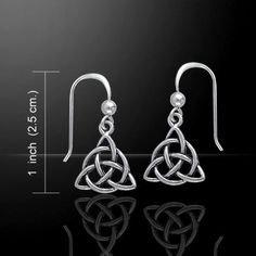 Celtic Knot TRIQUETRA Pendant in .925 Sterling Silver - GODDESS Irish Trinity Knot Wicca Pagan Drop Earrings