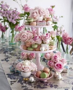 Pretty cake stand with macarons and roses.perfect for pretty Christmas entertaining Take from the pages of Christmas At Home by stylist Sandra Kaminski and photographer Geoff Hedley Deco Buffet, Deco Table, Vintage Tea Parties, Tea Party Table, Afternoon Tea Parties, Afternoon Tea Party Decorations, Tea Party Bridal Shower, Tea Party Birthday, Catering
