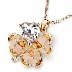 Pugster Golden Four-Leaf Clover April Birthstone Clear Swarovski Valentine Pendants Necklace Pugster. $23.99. Designed from Swarovski Element Cystal. Free Jewerly Box. Money-back Satisfaction Guarantee. Perfect gift for Christmas. Free Chain in a matching metal will be included