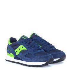 0a9e8729819b Laterale Sneaker Saucony Shadow 5000 in suede e nylon blu scuro e verde  acido Polo Ralph