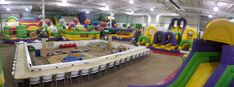 Wallabies is Tri-Cities, TN premier indoor inflatable party and play center with wall-to-wall inflatable slides and obstacle courses for kids up to 12 years old, with a large special area just for crawling toddlers