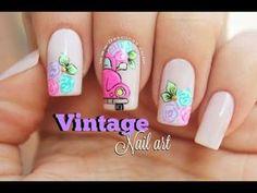 Diseño de uñas 2 Diseños vintage - 2 Vintage nail art - YouTube Fancy Nails, Pretty Nails, Vintage Nail Art, Glow Nails, Disney Nails, Super Nails, Dream Nails, Nail Decorations, Gel Manicure