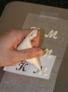 This is such an easy and clever way of making Chocolate Letters...Just print out the letters you need, pop the page under parchment paper and pipe your chocolate over the letters with the parchment...