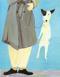 """Artist: Maira Kalman. This is a drawing of the book cover""""The Other End of The Leash"""" by Particia B McConnell PH.D."""