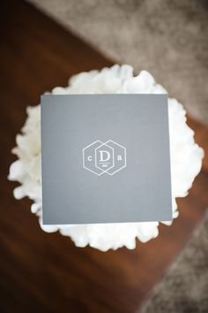 wedding monogram on grey photo by Brita Photography