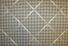 Large Laura Ashley Green Gingham Hand Crafted Fabric Notice / Pin / Memo Board