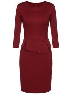 Elegant Round Neck Falbala Bodycon-dress Bodycon Dress from fashionmia.com