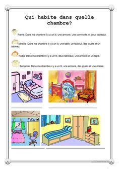 Qui habite dans quelle chambre? fiche d'exercices - Fiches pédagogiques gratuites FLE
