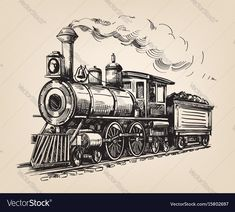 Find Steam Locomotive Transport Hand Drawn Vector stock images in HD and millions of other royalty-free stock photos, illustrations and vectors in the Shutterstock collection. Thousands of new, high-quality pictures added every day. Zug Illustration, Illustrations, Zug Tattoo, Train Tattoo, Train Drawing, Train Art, Ink Pen Drawings, Old Trains, Steam Engine