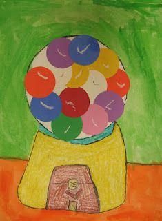 Art in the Big Green Room: 2nd grade Gumball Machines with Wayne Thiebaud