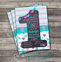 Items similar to Printable First Birthday Invitation, Little Bug Chalkboard 1 Hearts and Chevron, birthday girls pink aqua invite, Digital or Prints on Etsy First Birthday Invitations, Baby First Birthday, First Birthday Parties, Girl Birthday, First Birthdays, Birthday Ideas, Chevron Birthday, Birthday Cards, Chevron Invitations