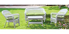 4Pc Outdoor Set with Green Cushion >>> You can get additional details at the image link.(This is an Amazon affiliate link and I receive a commission for the sales)