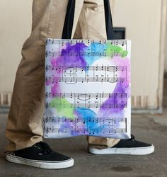 Music Lovers Tote Bag Vintage Sheet Music by ArtsyPumpkin on Etsy