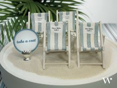 This unique seating chart can double as a really cute wedding favor! 5 Inspiring Ideas for a Beach Themed Wedding Reception