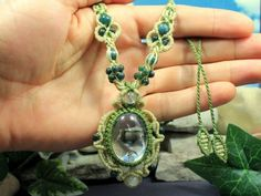 Clear-Quartz-Energy-necklace-green-and-tan-natural-hemp-macrame-necklace