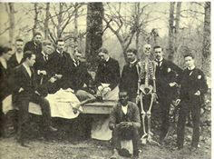 """Obtaining corpses for anatomy classes was difficult during the early years of the medical school. In the Souththis role fell to African Americans. The unidentified black man in this 1890 photograph may have been Chapel Hill's """"resurrection man."""""""