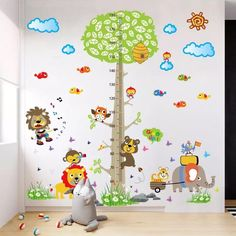 Bed Room Wall Ruler Monkey Theme Height Chart Growth Tree House Family Name