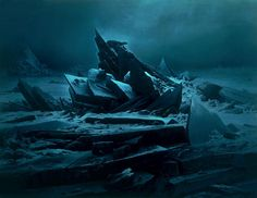 Caspar David Friedrich, although the painting is of an arctic landscape, the colour edit gives the picture the impression of a rocky one.