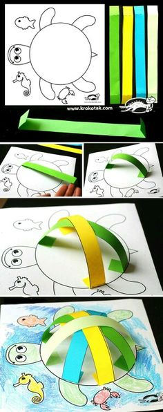 Turtle craft - Activities for kids Preschool Crafts, Fun Crafts, Arts And Crafts, Paper Crafts, Crafts Cheap, Science Crafts, Quick Crafts, Daycare Crafts, Beach Crafts