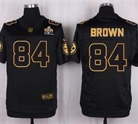 Nike Pittsburgh Steelers #84 Antonio Brown Black Men's Stitched NFL Elite Pro Line Gold Collection Jersey