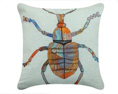 Soft Furnishings :: Embroidered Paul Beetle Cushion Cover - Futon Company   Futons   Sofa Beds   Beds   Storage Furniture   Mattresses