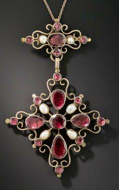 Pearl Pendant, Cross Pendant, Art Nouveau, Old Jewelry, Jewellery, Christian Symbols, Religious Cross, Crucifix, Crosses