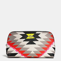 COSMETIC CASE 22 IN PRINTED CROSSGRAIN LEATHER