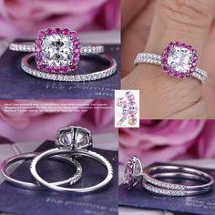Cushion Moissanite Engagement Ring Sets Ruby Halo Diamond Wedding 14K White Gold 8mm