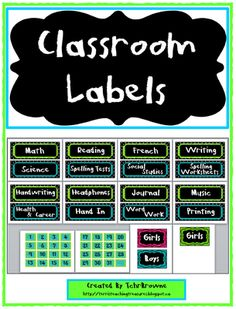 Classroom+Labels-+Blue,+Green,+and+Black+from+Terri'sTeachingTreasure+on+TeachersNotebook.com+-++(24+pages)++-+Included+are+16+subject+labels+that+can+be+used+for+buckets,+tubs,+or+as+signs+for+the+daily+agenda. There+are+also+number+cards+for+the+numbers+1-31,+along+with+a+blank+one,+that+can+be+used+to+number+hooks+or+as+part+of+your+calendar. Signs+for+each+mon