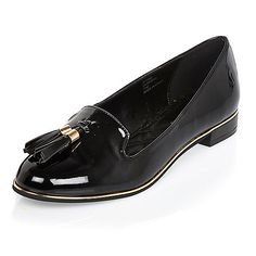 Black patent tassel loafers - loafers / pumps - shoes / boots - women