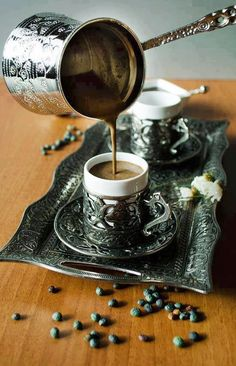 Turkish coffee is a method of preparing coffee. Roasted and then finely ground coffee beans are boiled in a pot (in Turkish; cezve), usually with sugar, and served in a cup where the grounds are allowed to settle.