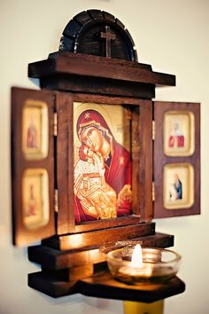 Orthodox altar for home. Buy it here… Religious Icons, Religious Art, Catholic Altar, Prayer Corner, Home Altar, Home Icon, Orthodox Christianity, Prayer Room, Orthodox Icons