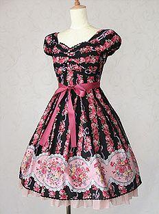 Victorian Maiden Rose Bouquet Striped Chiffon Dress