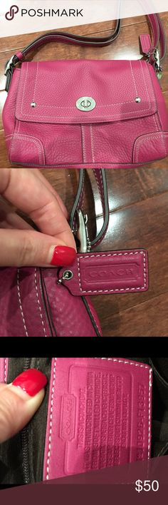 Preowned Authentic Coach Shoulder Bag in Fuchsia Preowned Authentic Coach Shoulder Bag in Fuschia. Great condition. No visible scratches or tears. Two small compartments and a zippered pocket inside. Coach Bags Shoulder Bags