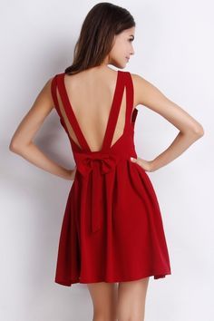 Goddess Solid Pleated Backless A-line Dress - OASAP.com