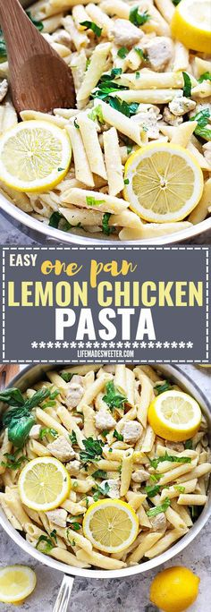Creamy Lemon Chicken One Pan Pasta Skillet makes the perfect easy weeknight meal. Best of all, it's made entirely in ONE PAN in under 25 minutes. So simple, bright and just amazingly delicious! Make a large batch for meal prep and take to work to reheat for lunch during the week!